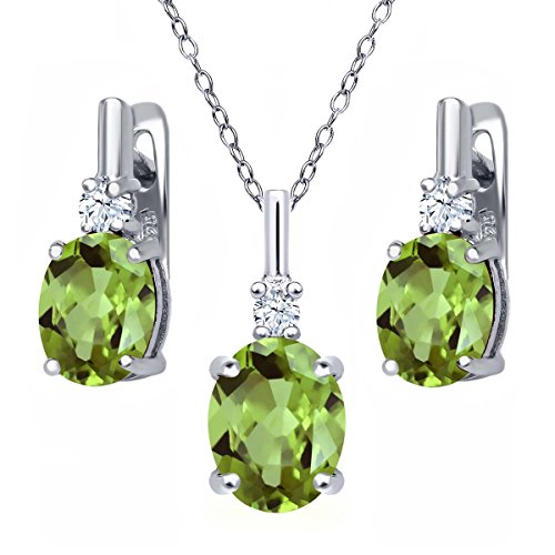 eridot 925 Sterling Silver Pendant Earrings Set (Peridot Pendant Set)