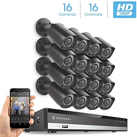Amcrest 1080P 16CH Security Camera System w 1080P DVR, 16 x 2MP IP67 Weatherproof Metal Bullet Analog Cameras 1920x1080P , 3.6mm Angle Lens, Hard Drive Not Included, 16-Channel AMDV108116-16B-B