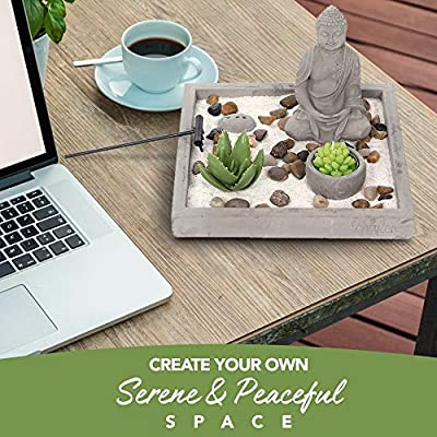 Cement Zen Garden – All-in-One Miniature Rustic Garden – Artificial Sculpture Made from Resin and Concrete – Mini Set with Rocks, Sand, Candle and Incense Holder – Brilliant Home or Office Decoration: Home & Kitchen