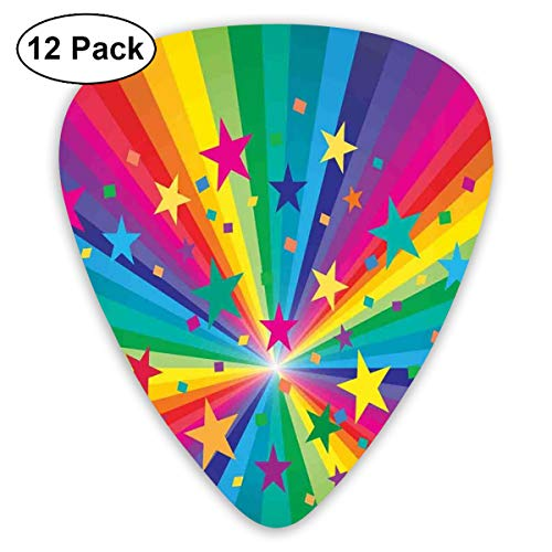 Celluloid Guitar Picks - 12 Pack,Abstract Art Colorful Designs,Abstract Rainbow And Stars Confetti Rays Striped Celebrating Happy Times Theme,For Bass Electric & Acoustic Guitars.