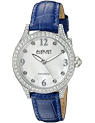August Steiner Womens AS8188BU Silver Crystal Accented Quartz Watch with White Mother of Pearl Dial and Blue...