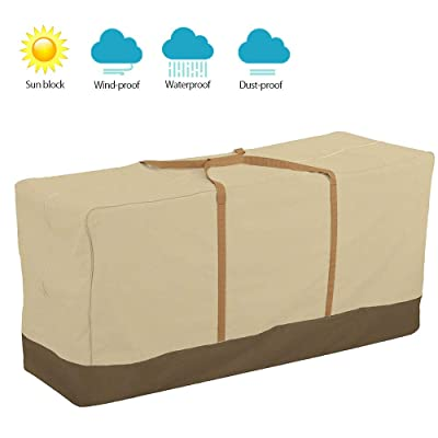 "willstar Outdoor Patio Cushion Storage Bag Heavy Duty 600D Waterproof with Rust Proof Zipper, Storage Bag & Sturdy Carry Handles (45.6"" L x 13.75"" W x 20"" H): Home & Kitchen"