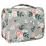 Portable Hanging Travel Toiletry Bag Waterproof Makeup Organizer Cosmetic Bag Pouch For Women Girl (Light Grey Flowers)