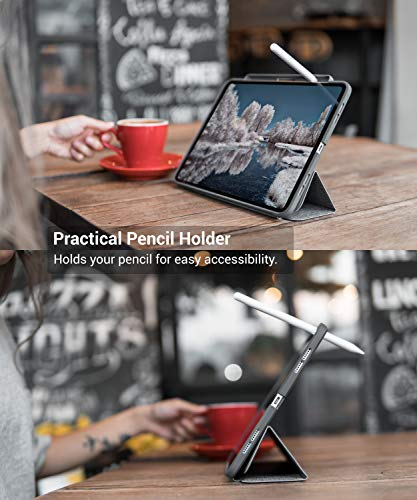 TineeOwl Mocha 2018 iPad Pro 11 inch, Ultra-Slim Clear Case with Pencil Holder + Tri-fold Stand Cover, Supports Apple Pencil Wireless Charging [Absorbs Shock] Flexible TPU, Lightweight (Dark Gray)
