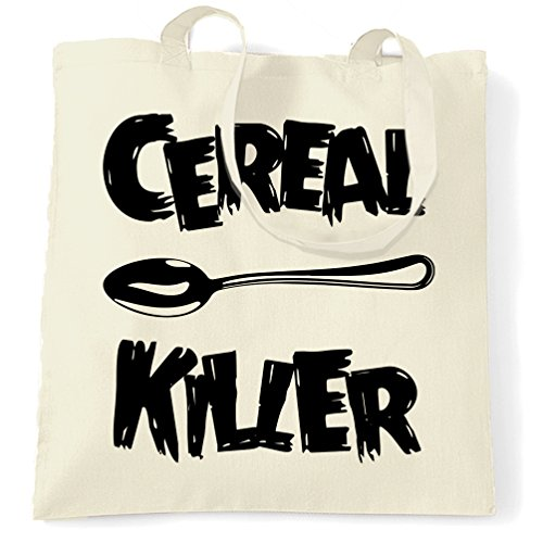 Price comparison product image Cereal Killer Spoon Funny Breakfast Food Humor Slogan Chef Shopping Carrier Tote Bag.