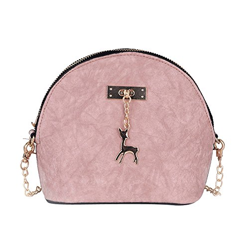 Camera Bag Fashion Wallet - Clearance Sale! ZOMUSAR Women Fashion PU Leather Zipper Small Deer Splice Handbag Shoulder Shell Bag Shiny Crossbody Tote Bag (Pink )