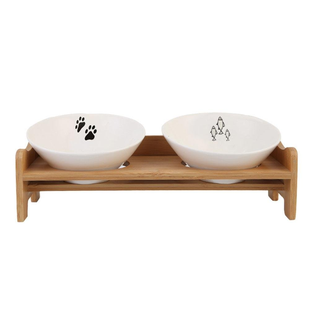 6 inch Dog Bowls,Bamboo Wooden Frame Ceramic Two Bowls with Pet Food Table,Pets Feeder Bowl and Water Bowl Perfect Choice