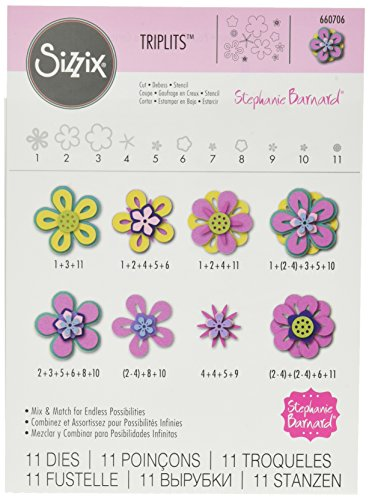 Sizzix 660706 Triplits Die Set, Flowers# 3 by Stephanie Barnard, (Die Flower)