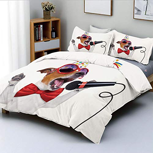 Duplex Print Duvet Cover Set King Size,Jack Russel Dog with Sunglasses Party Hat and Bowtie Singing Birthday Song DecorativeDecorative 3 Piece Bedding Set with 2 Pillow Sham,Multicolor,Best Gift For K