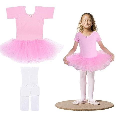 79b627262 Amazon.com   LONGBLE Girls Cotton Short Sleeve Leotard Skirt Kids ...