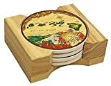 Hawaiian Ceramic Coasters 4 Pack Brown Island Chain