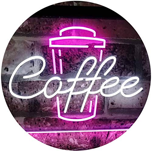 ADVPRO Coffee Cup Home Décor Shop Display Dual Color LED Neon Sign White & Purple 16 x 12 Inches ()