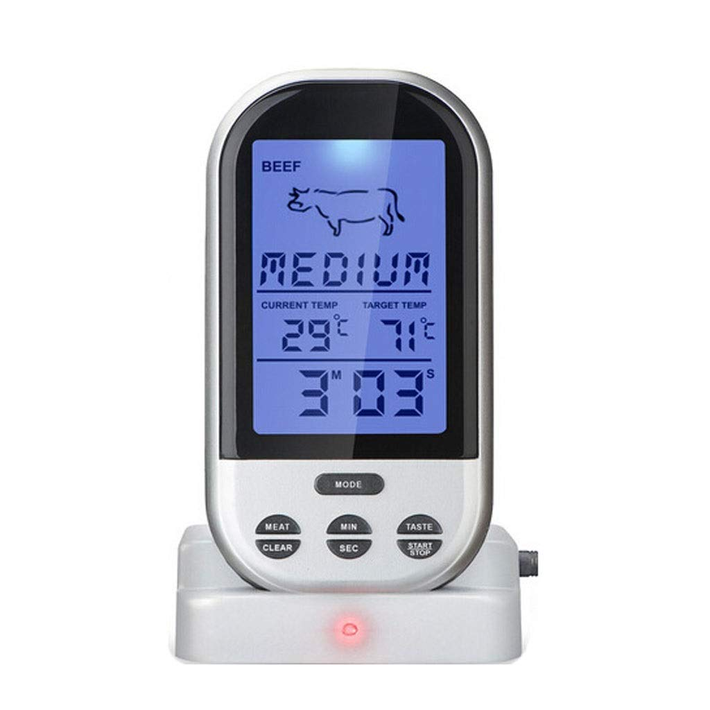 Wireless Food Thermometer Electronic Digital Meat, Portable Stainless Steel Probe for Kitchen BBQ Grill Frozen Drinks Baby Bathe,Timer/Alarm /°C / °F Selection/Backlight.
