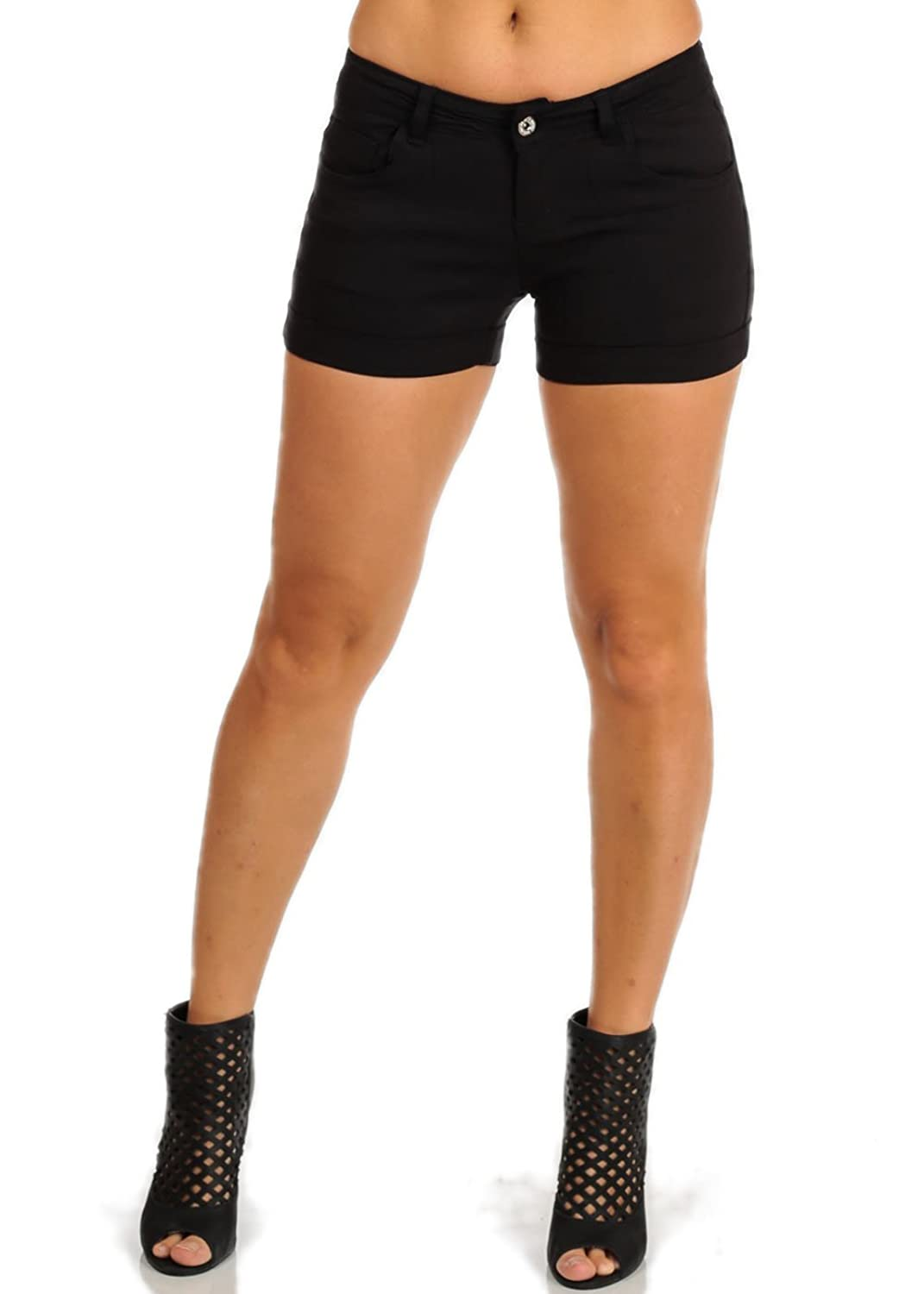 Cute Mid Rise Retro Stretchy Material Casual Black Shorts 10635H