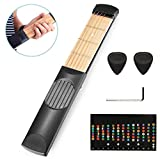#4: ONEST Portable Wooden Pocket Guitar Practice Tool Gadget Guitar Chord Trainer 6 Fret + Guitar Scale Stickers Fingerboard Note Decals for Beginner Practice