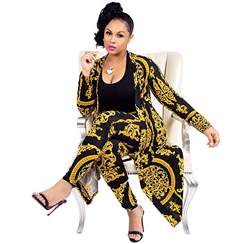 Women 2 Piece Club Outfits Long Sleeve Floral Open Front Cardigan Pants Set (XX-Large, - Size Women Plus Clothes Club