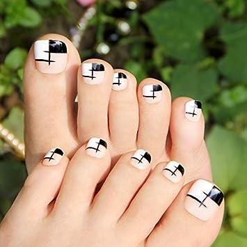 Amazon Black Beige Grid False Nails For Toes Simple Design