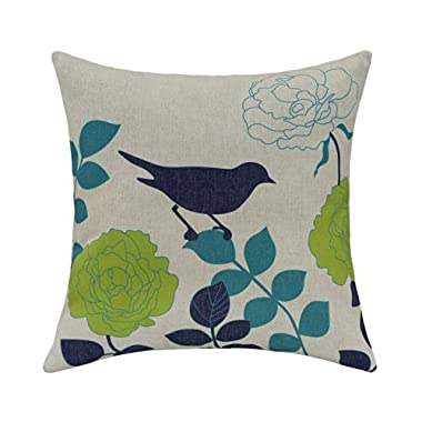 CaliTime Cushion Cover Throw Pillow Shell Floral Shadow Bird 18 X 18 Inches Natural Ground Navy Bird