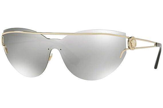 Amazon.com: Versace ve2186 anteojos de sol w oro pálido/gris ...