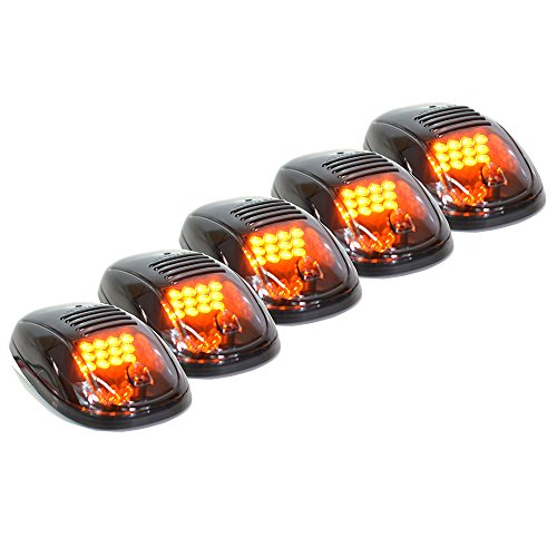 Xprite New Version High Intensity 5pcs Amber Yellow LED Cab Roof Top Marker Running Clearance Lights For Ford Truck SUV Pickup 4×4 (Black Smoked Lens Lamps)