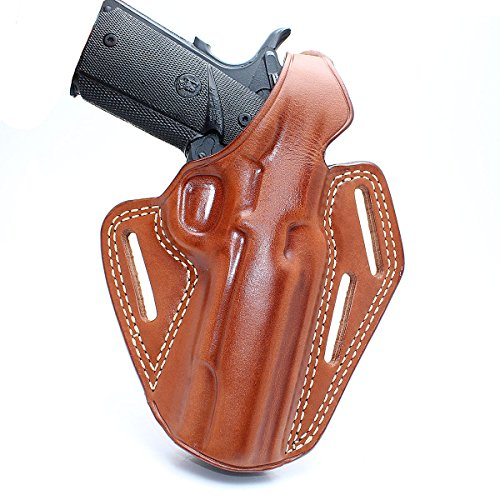 Premium Leather OWB Three Slot Pancake Concealed Carry Holster with Thumb Break, para Ordnance 1911 Without Rail 5