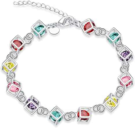 Elensan Simple Square Crystal Bracelet Gold Plated Jewelry for Woman Girls