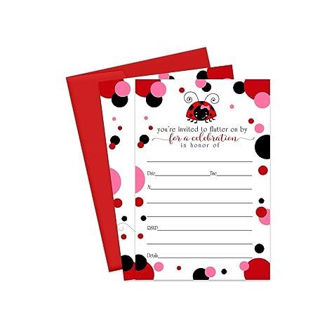 Invitaciones De Little Ladybug Con Sobres Rojos Paquete De
