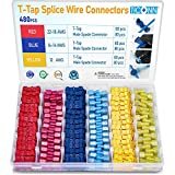 TICONN 480 Pcs T-Tap Wire Connectors, Self-Stripping Quick Splice Electrical Wire Terminals, Insulated Male Quick Disconnect Spade Terminals Assortment Kit with Storage Case (480)