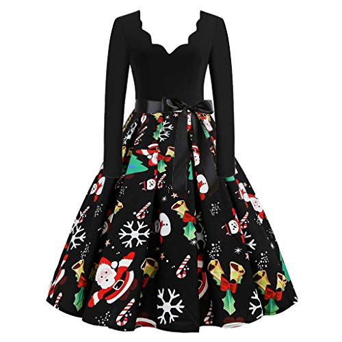 Christmas Cocktail Dress Women Carnival Ball Retro Long Sleeve Dress 50S High Waist Dresses Over Knee Skirt Suit Black