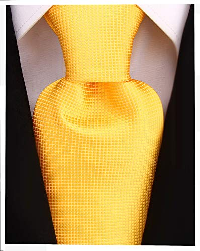 Micro Dot Solid Color Ties for Men - Woven Necktie - Canary Yellow