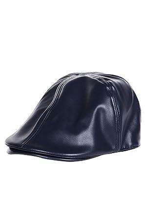 Gorra de Mujer Gorro Plano Sombrero de Cuero Vendedor de periódicos Gorra Cabbie Sombrero Vintage Marino One Size: Amazon.es: Ropa y accesorios