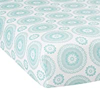Lambs & Ivy Classic Medallion Fitted Crib Sheet, Aqua