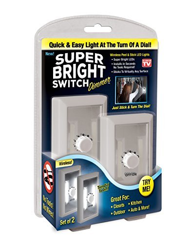 Super Bright Switch Dimmer: Wireless Peel and Stick LED Lights - Tap Light, Touch, Night, Utility, Battery Operated, Under Cabinet, Shed, Kitchen, Garage, Basement by Super Bright Switch