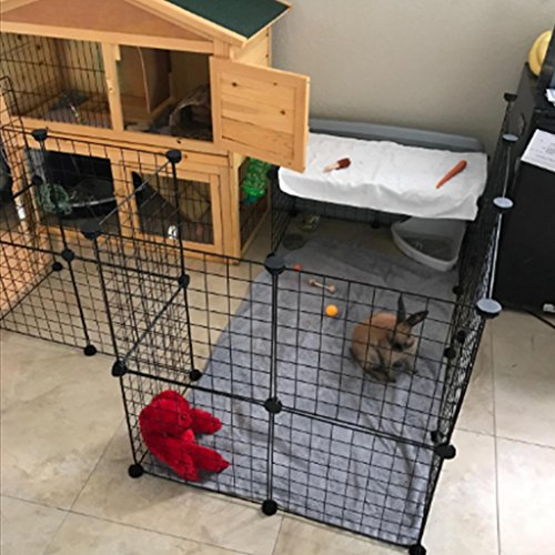 Tespo-Pet-Playpen-Small-Animal-Cage-Indoor-Portable-Metal-Wire-Yard-Fence-for-Small-Animals-guinea-pigs-rabbits-Kennel-Crate-Fence-Tent-Black-12-Panels