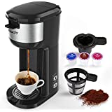 Single Serve K Cup Coffee Maker Brewer for K-Cup Pod & Ground Coffee, Compact Design Thermal Drip Instant Coffee Machine with Self Cleaning Function, Brew Strength Control by Sboly