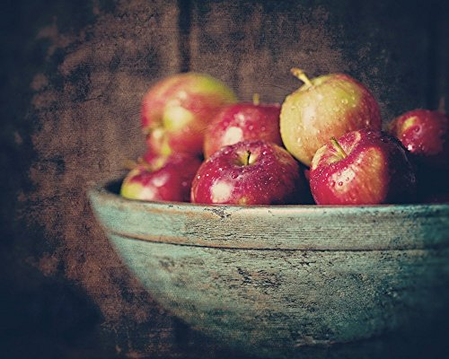 - Rustic Farmhouse Kitchen Decor Picture of Red Apples in a Teal Vintage Bowl