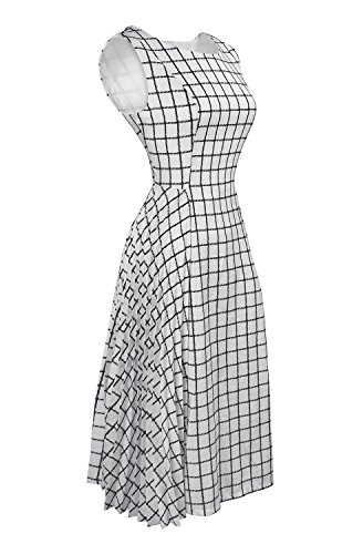Large Product Image of DANTTAN Women's Sleeveless White Plaid Gingham Pleated Midi Dress