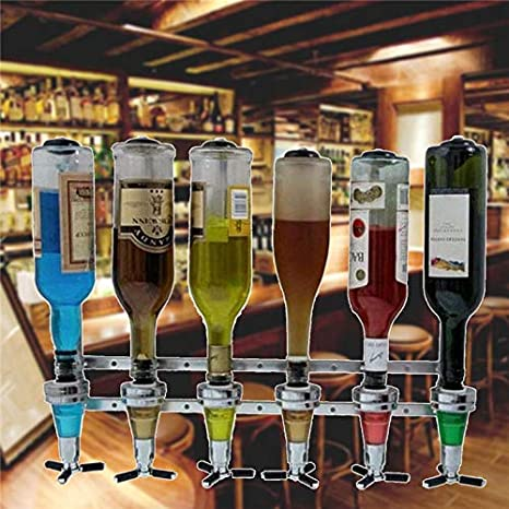 KITCHY 6 Bottles Shots Stand Machine Wall Bracket Wall Mounted Wine Liquor Drinks Dispenser Bar Wine Holder Bar Tool for Beer Soda: China