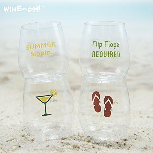 4-pack Wine-Oh! Designer BPA Free Plastic Shatterproof Wine Glass (FLIP FLOPS)