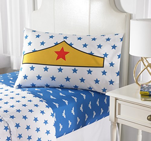 4 Piece Girls Cobalt Blue Wonder Woman Sheet Full Set, White Color Comics Movie Characters Pattern Dc Comic Reversible Kids Bedding, Luxurious Traditional Fun Adventure Superhero Themed Teen Polyester by MISC