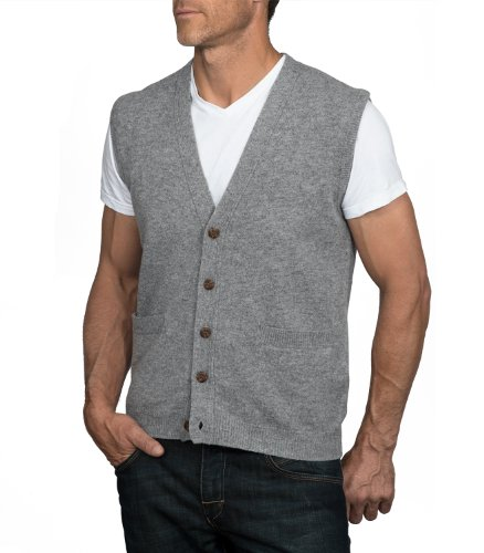 Wool Overs Men's Lambswool V Neck Button Sweater Vest | in Oman ...
