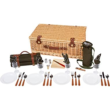 Trademark Innovations Deluxe Wicker Suitcase Style Picnic Basket with Insulated Compartment