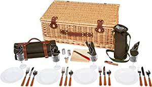 """25"""" Deluxe Wicker Suitcase Style Picnic Basket with Insulated Compartment by Trademark Innovations"""