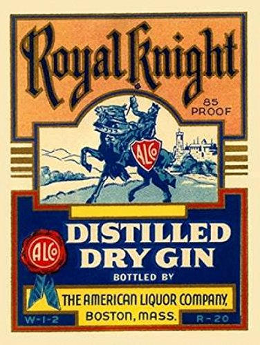Royal Knight Distilled Dry Gin Poster Print by Vintage Booze Labels (11 x 14) (Gin Vintage Dry)
