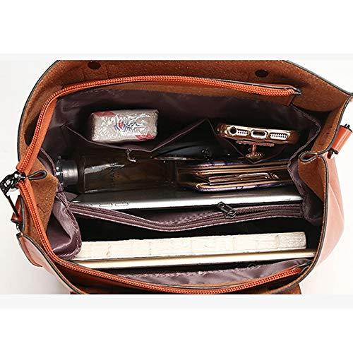 Pink Femmes Tout marron QZTG Wine Blushing main Capacité Tote À Sacs Buttons sac Fourre Sacs Grande Zipper à De Main Brown pour PU BPPwAgqXUx
