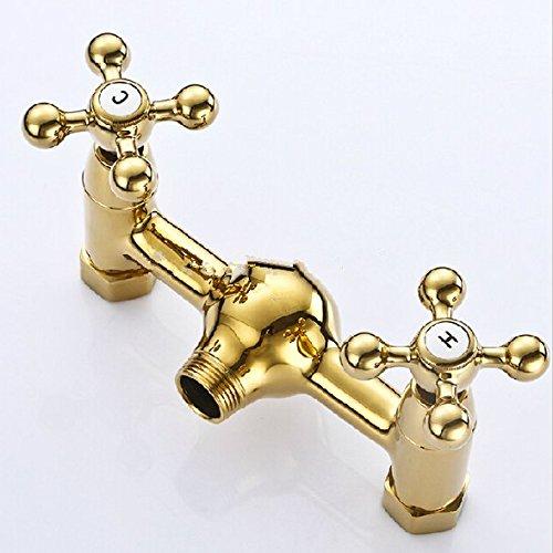 GOWE Luxury Golden Dual Handles Shower Set Faucet Wall Mount with Brass Handshower Mixer Tap + Bracket 2