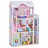 """Costzon 46"""" Dollhouse, 3 Levels House with Furniture, Pink"""