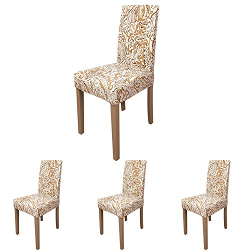 ColorBird Paisley Pattern Spandex Fabric Chair Slipcovers Removable Universal Stretch Elastic Chair Protector Covers for Dining Room, Hotel, Banquet, Ceremony (Set of 4, Wheat)
