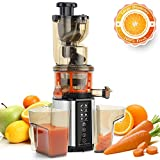 Juicer Machines, Vestaware Masticating Slow Juicer with Digital Control Panel, Easy to Clean Juicer Extractor 3-Inch Wide Feed Chute Juice Recipes for Fruit Vegetable, BPA Free, Silver