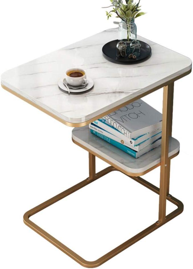 Hoge Kwaliteit Goedkoop Kleine salontafel bijzettafel voor de woonkamer dubbele storey ijzeren bijzettafel Movable Snack tafel balkon slaapkamer Goud k8ZCpcD